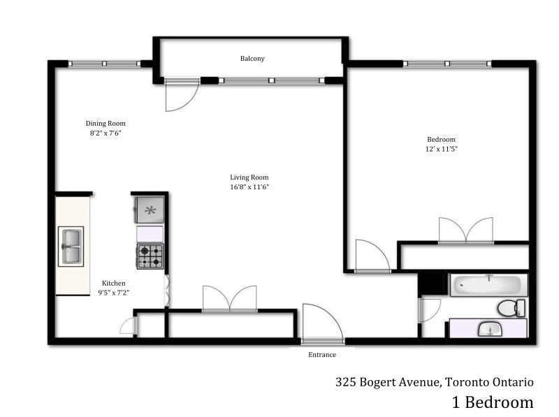 325 Bogert Avenue 1 bedroom floor plan