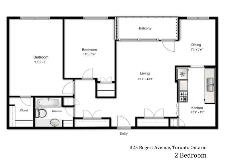 325 Bogert Avenue 2 bedroom floor plan