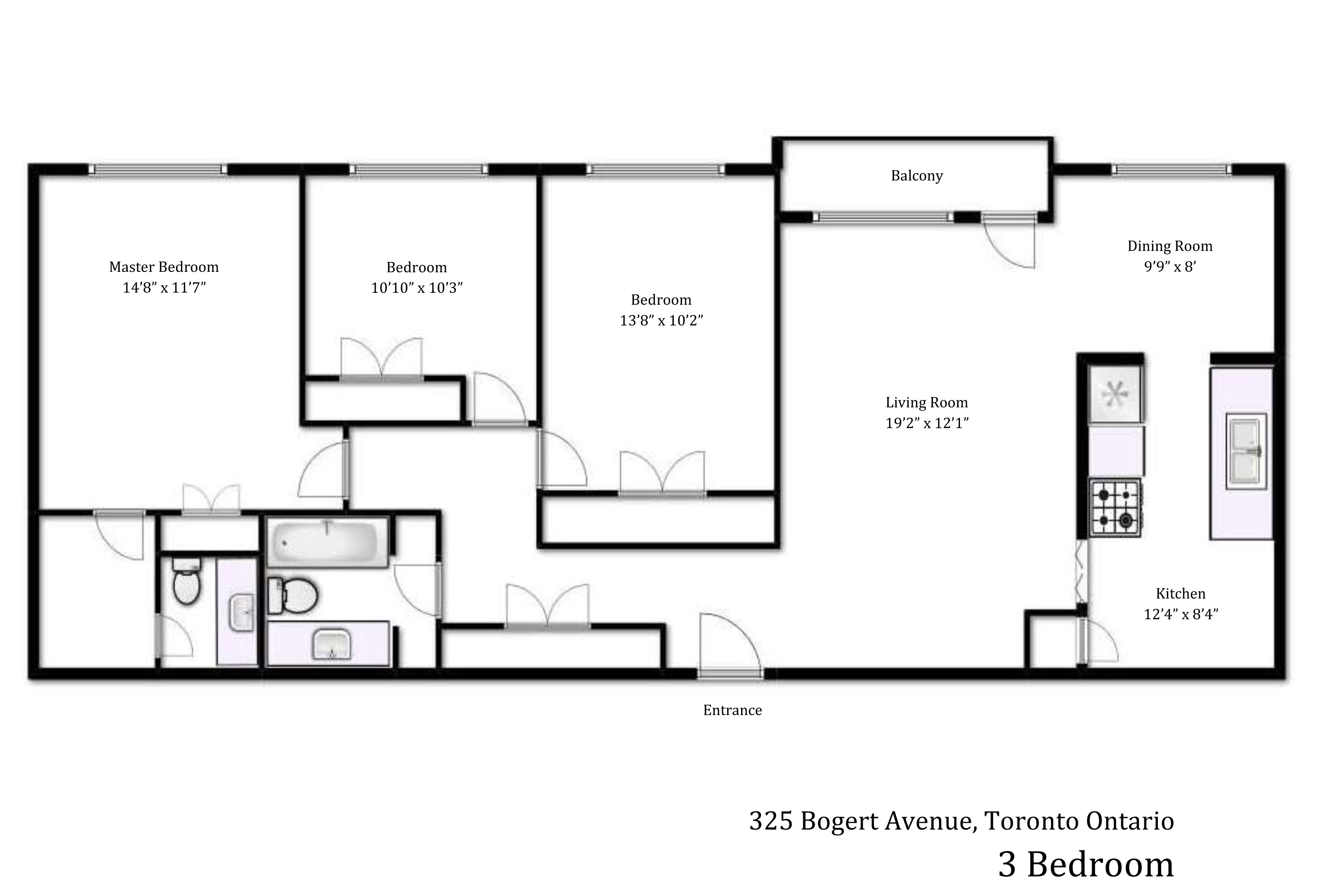 Gallery heath residence 325 bogert ave for Three bedroom plan